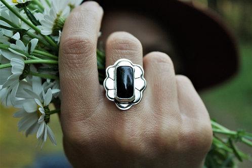 'Onyx Efflorescence' Ring (Black Onyx) - size 7