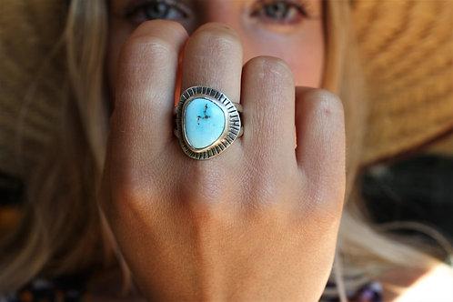 Turquoise Sun Burst Ring- Size 8.5