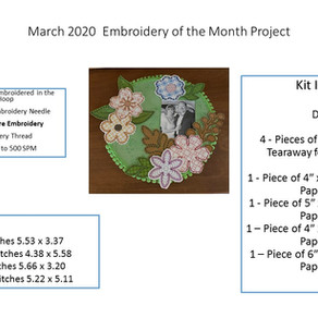 March 2020 Embroidery of the Month Project