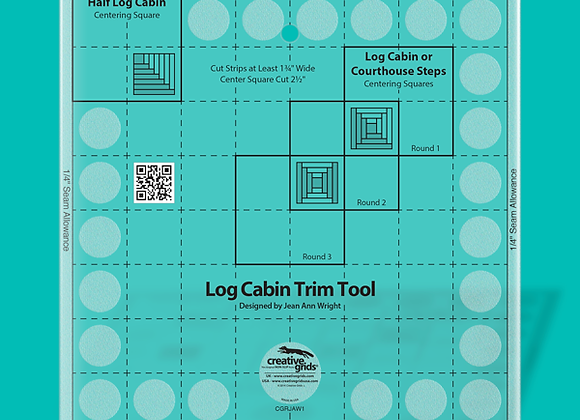 Creative Grid Ruler - Log Cabin Trim Tool for 8in Finished Blocks Quilt