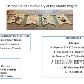 October 2019 Embroidery of the Month Club Project