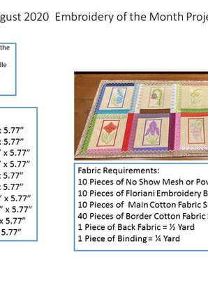 August 2020 Embroidery of the Month Project - Quilted Table Runner