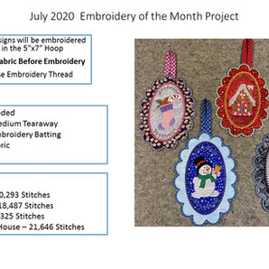 July 2020 Embroidery of the Month Project - Christmas Ornaments