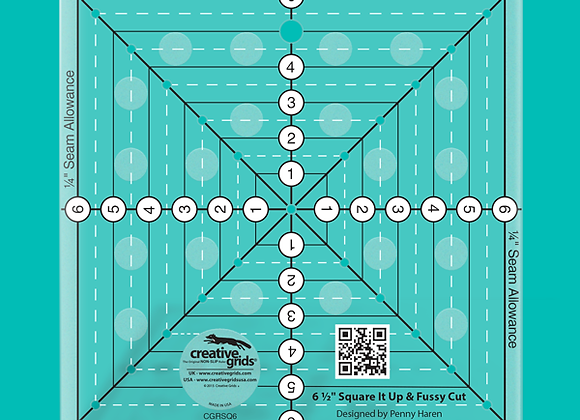 Creative Grid Ruler - 6-1/2in Square It Up or Fussy Cut Square Quilt