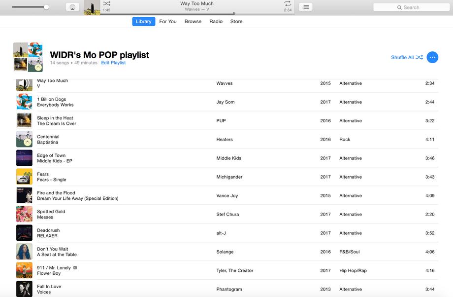WIDR's Mo POP Playlist