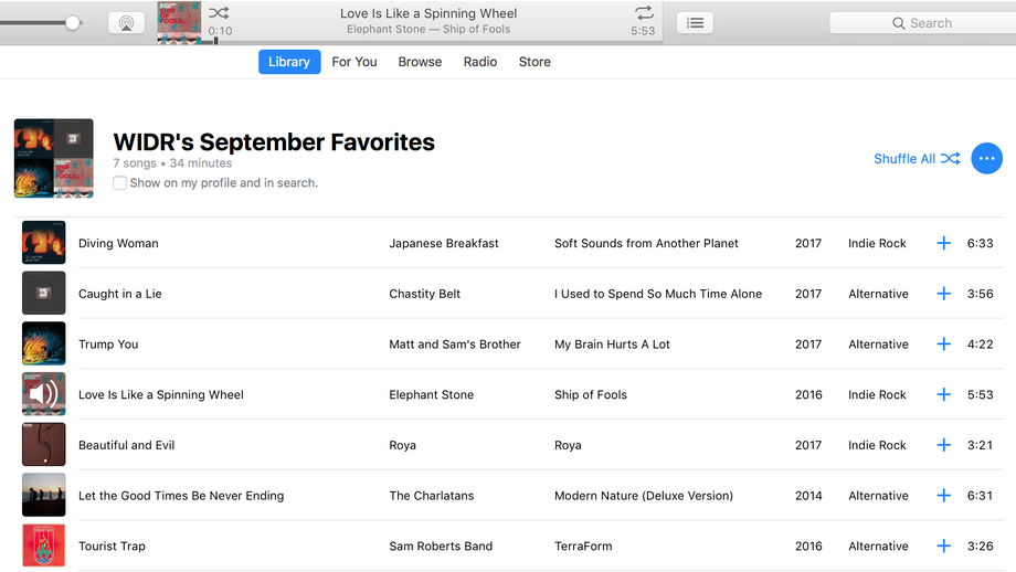 WIDR's September Favorites Playlist