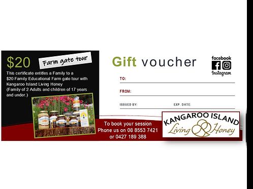 Gift voucher $20 Family Educational Farm Tour