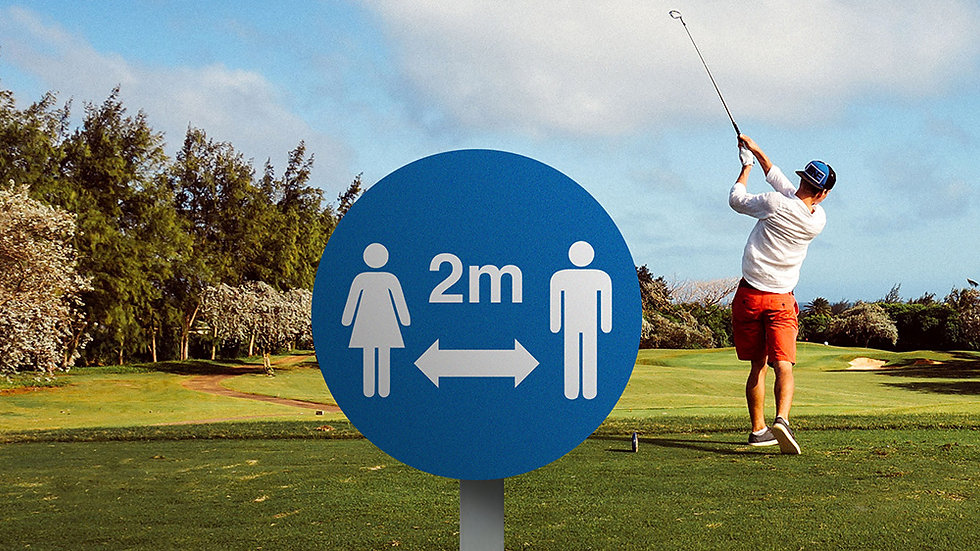 Tee Box queuing distance signs
