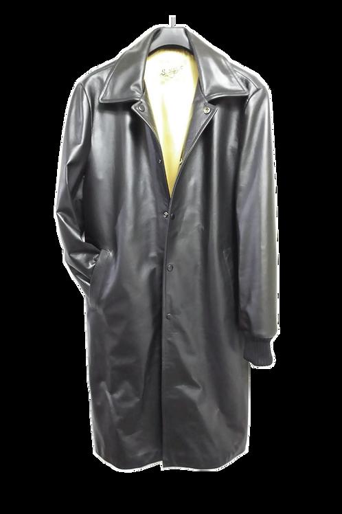 ロングコートシングル襟袖リブ