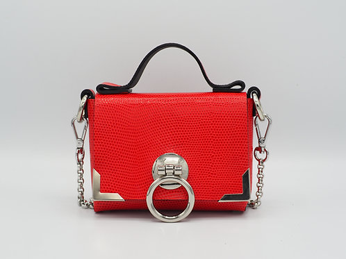 SUPERMINI CLUTCH RASPBERRY RED SNAKE EMBOSSED LEATHER