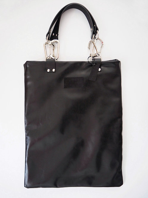 BLACK TOTE BAG LEATHER