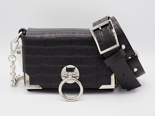 MINI CLUTCH BLACK CROC LEATHER