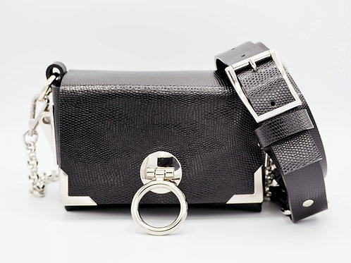 MINI CLUTCH BLACK SNAKE EMBOSSED LEATHER