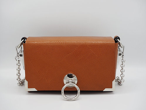 MIDI CLUTCH CARAMEL SNAKE EMBOSSED LEATHER