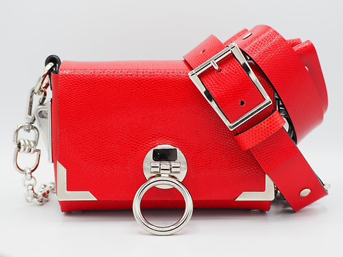 MINI CLUTCH RASPBERRY RED SNAKE EMBOSSED LEATHER
