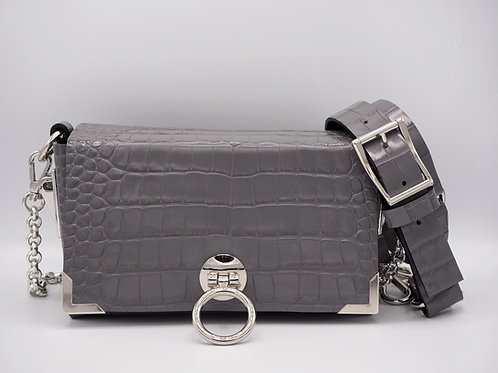 MIDI CLUTCH ASH GRAY CROC LEATHER