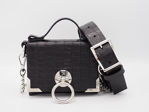 SUPERMINI CLUTCH BLACK CROC LEATHER