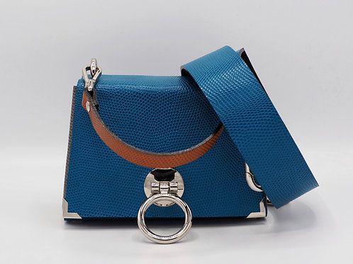 THE EXTENDED MINI 2.0 - AQUAMARINE BLUE SNAKE EMBOSSED LEATHER