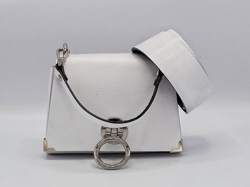 THE EXTENDED MINI 2.0 - PURE WHITE SNAKE EMBOSSED LEATHER