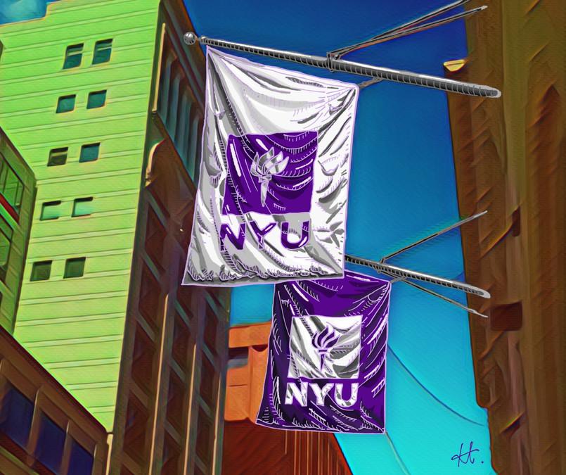 NYU Flag on the Street