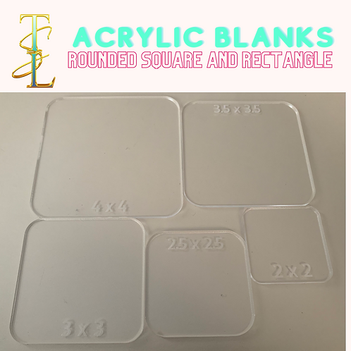Acrylic Blanks - Rounded Square / Rectangle - 10 PIECES