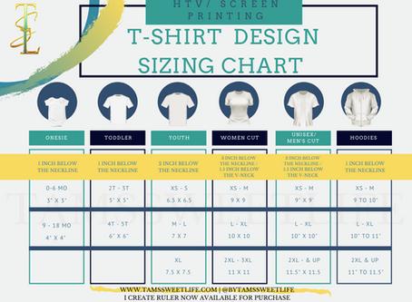 T-shirt Design Sizing Chart