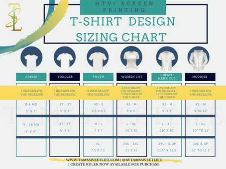 T-shirt Design Sizing Chart