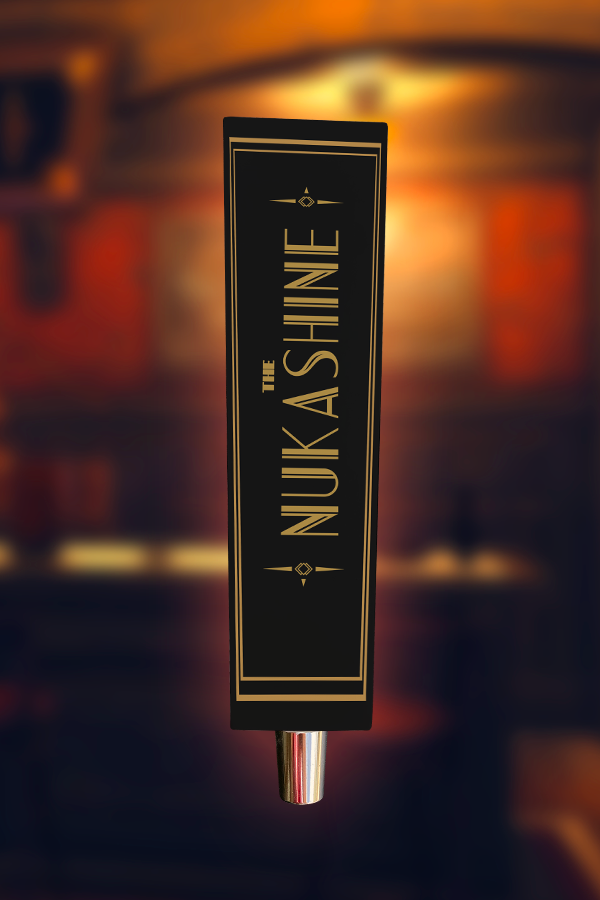 Nuka Shine from Fallout 4 Nuka-World wooden tap handle, back view
