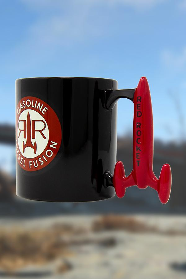 black Red Rocket from Fallout mug with a circle logo on the front of the mug and custom rocket shaped handle in red, side view