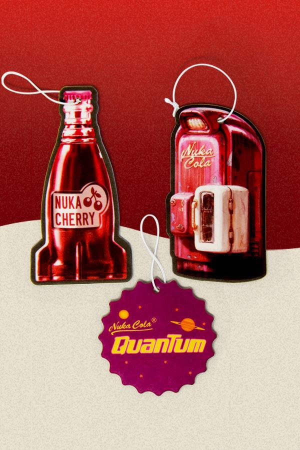 Nuka Cherry bottle rocket, Nuka-Cola vending machine (Fallout 4 style), and Nuka-Cola Quantum bottle cap air fresheners