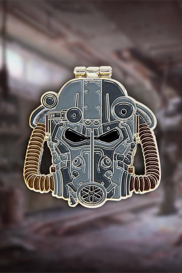 The front of the T-60 power armor helmet from Fallout 4 soft enamel pin