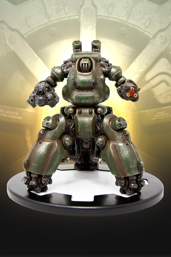 Annihilator MKII Sentry Bot in military green statue from Fallout 4 on a vault door gear shaped base