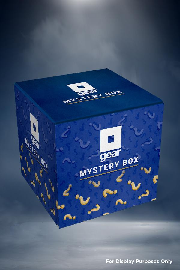 A blue square box that has the Bethesda Gear Store logo and text that says 'Mystery Box'
