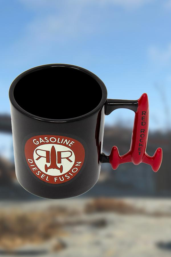 black Red Rocket from Fallout mug with a circle logo on the front of the mug and custom rocket shaped handle in red, top down view