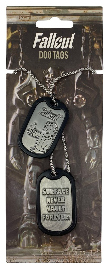 Fallout themed metal dog tag set on a necklace chain on a custom card backing featuring a power armor