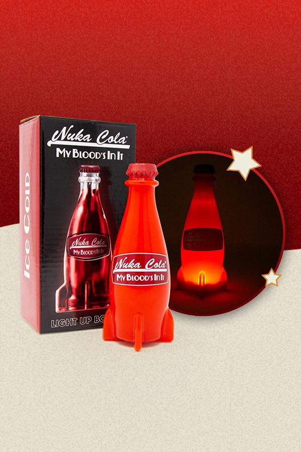 red Nuka-Cola bottle shaped LED lamp from Fallout with the packaging on the left, the bottle light turned off in the center, and the bottle light turned on on the right side