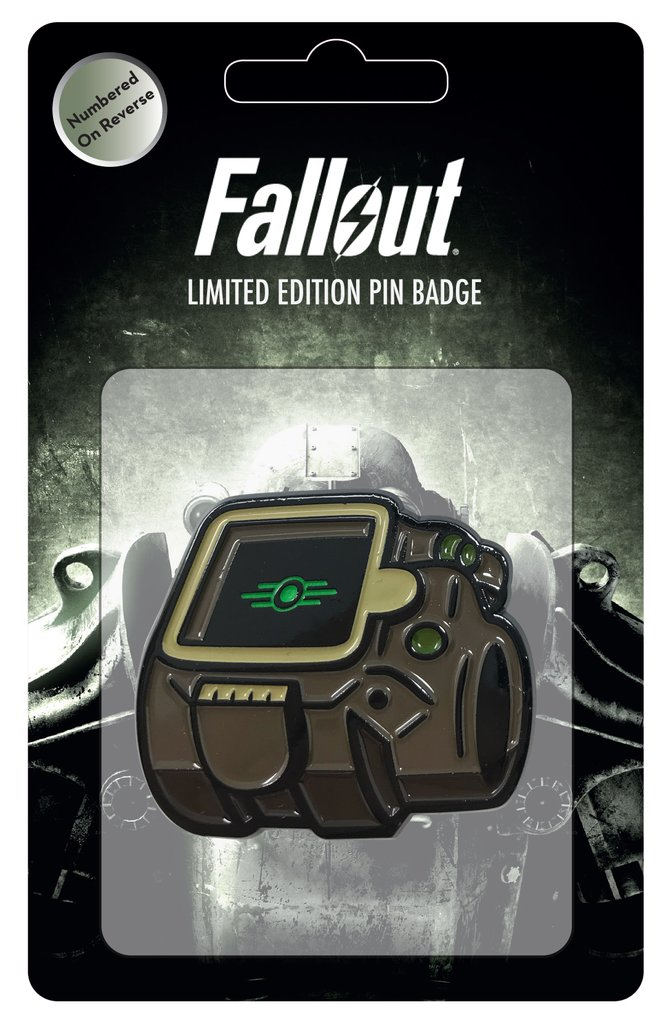 Pip-Boy from Fallout 4 soft enamel pin with a custom backing featuring a power armor