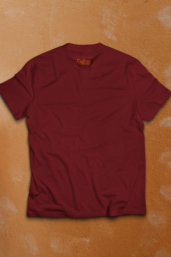 The back of a cardinal red crew neck t-shirt with a small Fallout text logo under the neck in dark orange