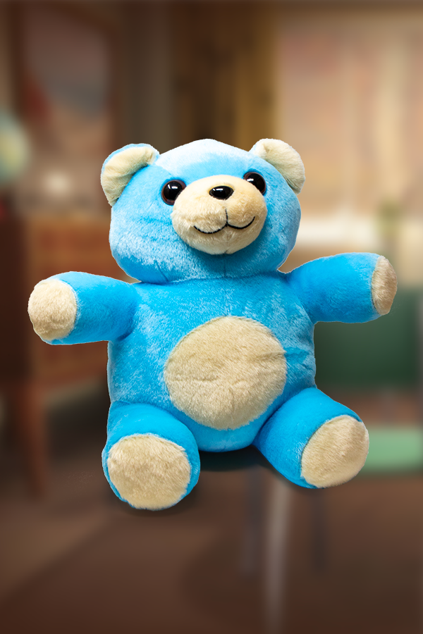 Cute and fluffy Quantum teddy bear plushie from Fallout in sky blue