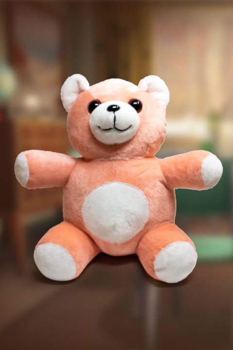 Cute and fluffy Bubblegum teddy bear plushie from Fallout in bubblegum pink