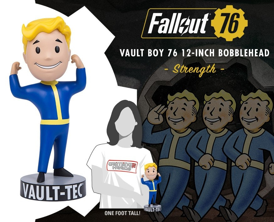 Vault Boy from Fallout bobblehead flexing his muscles for STRENGTH