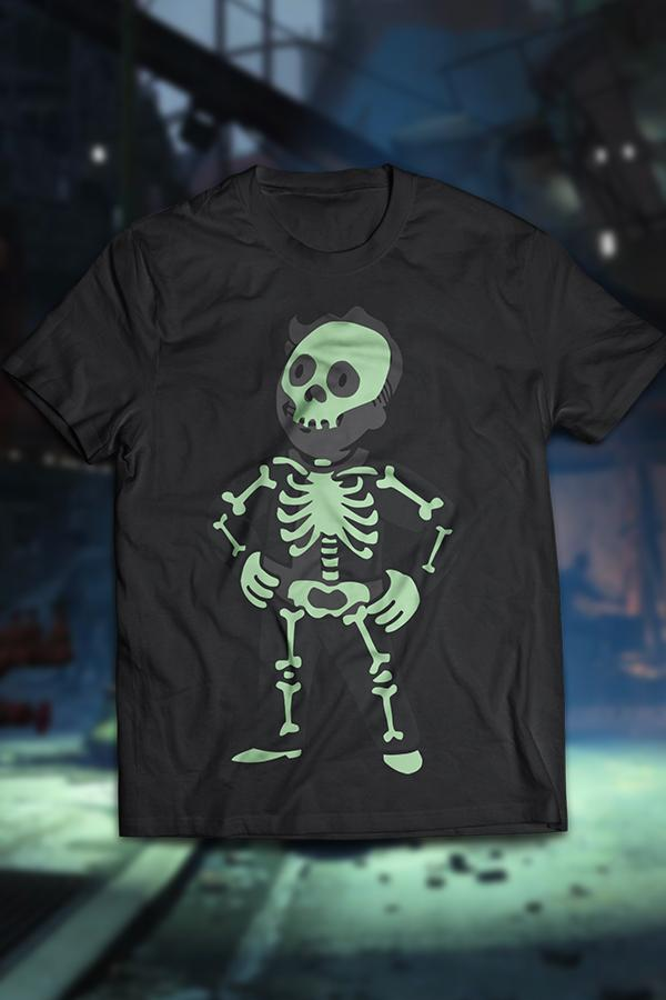 Vault boy from Fallout glow in the dark t-shirt with him doing his signature hands on hips pose, showing the outline of a skeleton