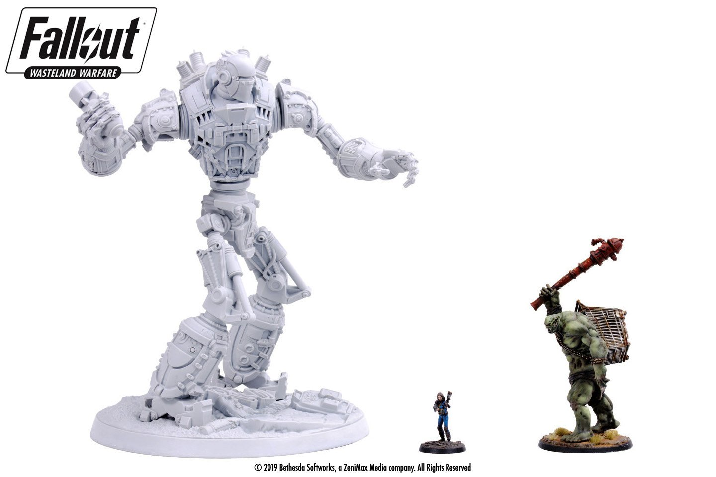 A miniature Liberty Prime from Fallout 4 shown to scale with the Sole Survivor and a Super Mutant Behemoth miniatures for scale