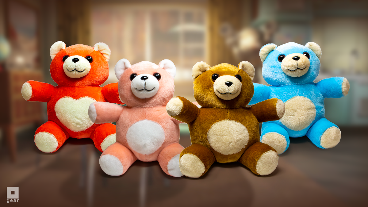 Cute and fluffy teddy bears from the Fallout series lined up: Comrade Chubs in red with a heart shaped tummy, Quantum in sky blue, Teddy in light brown, and Bubblegum in bubblegum pink
