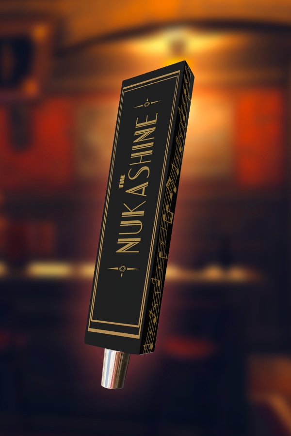 Nuka Shine from Fallout 4 Nuka-World wooden tap handle, front view