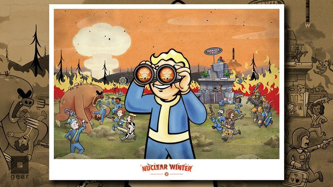 Vault Boy from Fallout using binoculars with Vault Dwellers and creatures fighting in the background