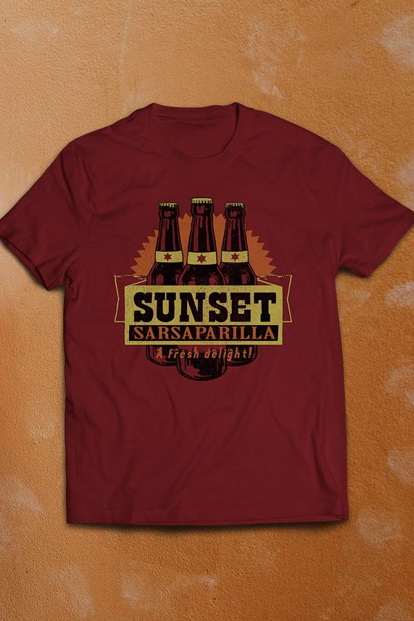 Sunset Sarsaparilla 'a fresh delight' logo with 3 bottles lined up in the back design from Fallout: New Vegas on a cardinal red crew neck t-shirt