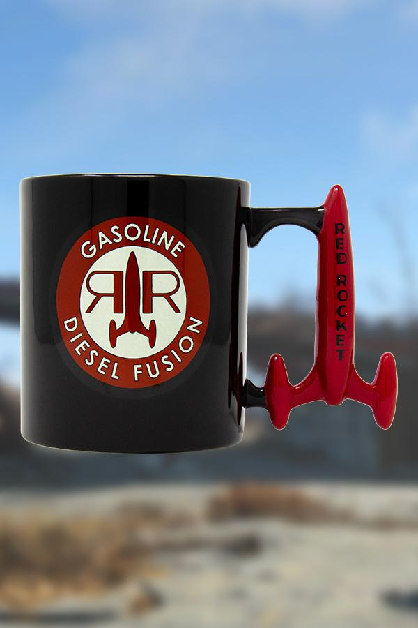 black Red Rocket from Fallout mug with a circle logo on the front of the mug and custom rocket shaped handle in red, front view