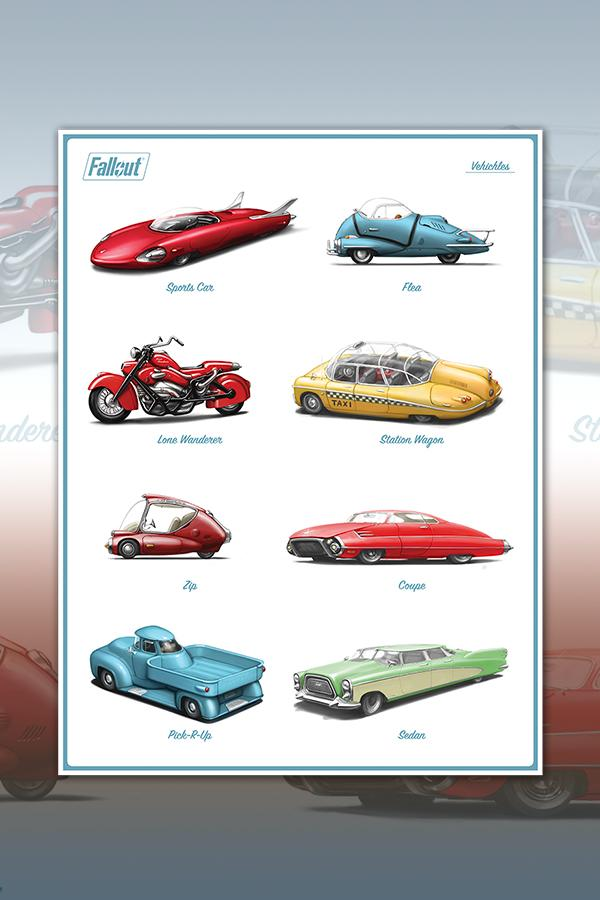 poster art showing 8 signature vehicles from the Fallout series