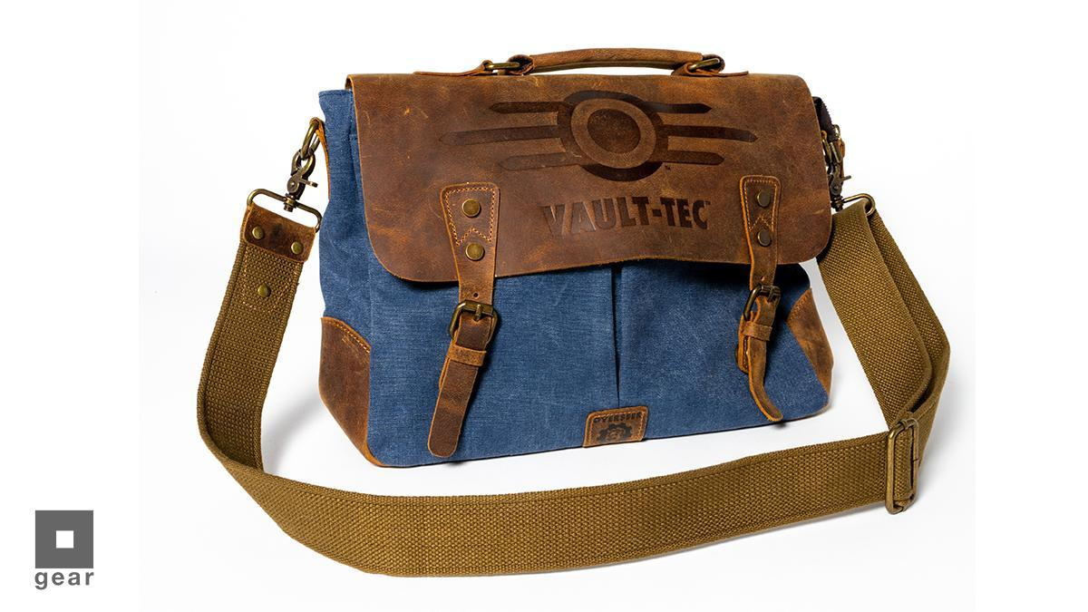 Brown and denim colored Vault-Tec embossed messenger bag made out of leather and canvas materials